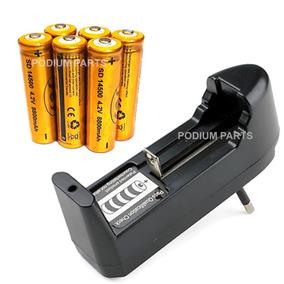 Kit Carregador + 6 Bateria 14500 8800mah 4,2v Lanterna Led