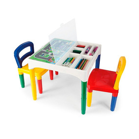 Mesinha Didática Infantil Com 2 Cadeiras Poliplac + Adesivos