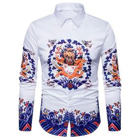 Turndown Collar Chinoiserie Dragón Impresión Camisa