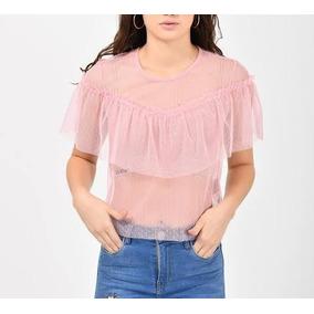Blusa Rosa Transparencia Olan Cuidado Con El Perr0