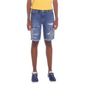 Bermuda Jeans Levis 511 Slim Cut Off Lavagem Média