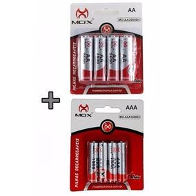 Kit Pilhas Mox Recarregável 4 Aa 2600 Mah E 4 Aaa 1000 Mah