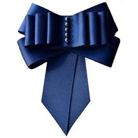 Broche Corbatin Prendedor Bow Brooch Azul Camafeo Perlado