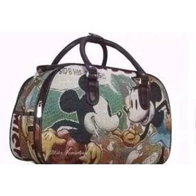 Bolsa Mala De Mão Mickey E Minnie Colorido Frasqueira Preta 829217e6eeb