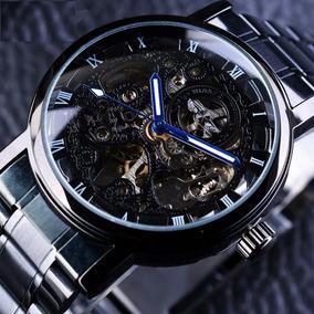 Elegante Reloj De Pulso Hombre Winner Skeleton Automatico