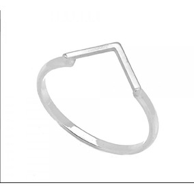 Anel Prata 925 Geometrico V Aro 12 14 16 18 20 22 24