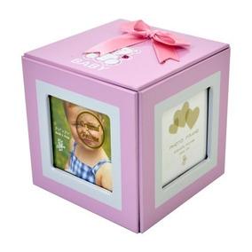 Porta Retrato Cubo Fotografias Fotos Rosa Infantil 6x6 Cm