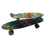 Patineta Tabla Skate Mini Long Board Luces Llanta Goma Penny
