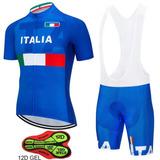 Roupa Para Ciclismo Conjunto Bretele Gel, Camisa Itália Azul
