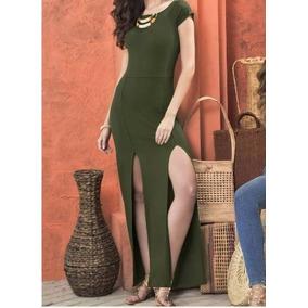Vestido Verde Largo,escote Ojal, Sexys Aberturas Al Frente,