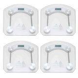 Kit 4 Balança Digital Vidro Temperado Academia Banheiro Sala