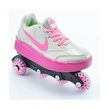 Tênis Infantil Nike Patins Cinza E Rosa Modelo 100491