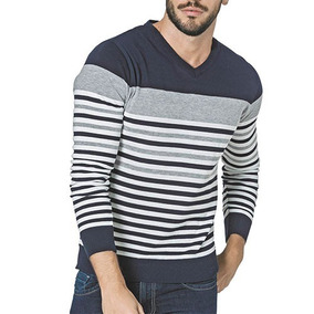 Suéter Sel 3177 Color Marino Gris Blanco Caballero Oi