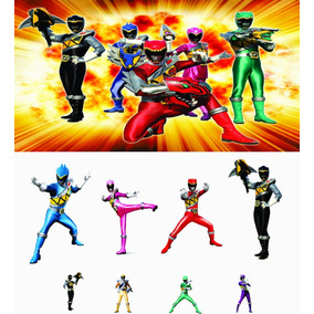 Kit Power Rangers Dino Charge 8 Pçs + Painel 2,00x1,50 (nv)