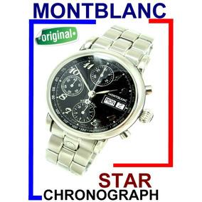 Montblanc Star Crono Auto Cal.duplo Aço-aço Black Dial 7016!