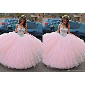 Vestido Xv, Rosa Pastel Con Pedrería Con Tutu