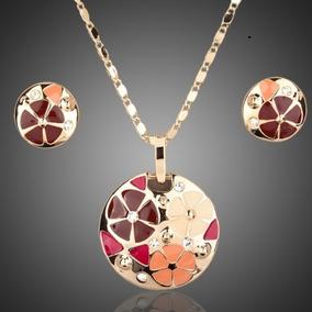 Collar, Dije Y Aretes Hermoso Set Diseño Floral Envió Gratis