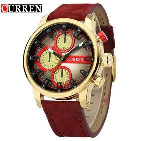 9bbc7a61c3d Relógio Curren Original 8170 Dourado Vermelho Casual Fashion