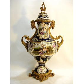 Anfora Ou Potiche Europeia Em Porcelana E Bronze Belíssima
