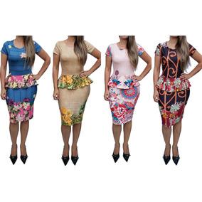 Kit Atacado 5 Vestidos Midi Feminino Tubinho Moda Evangelica