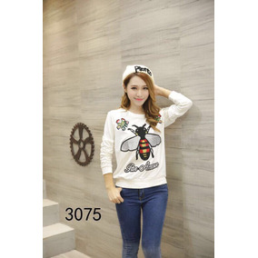 Outfit Suéter Blanco Negro Abeja Mujer Conjunto Gucci 5efd1be55793e