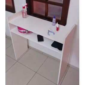 Mesa Manicure Mdf Branco 80x77x30 Cm Escrivaninha Aparador