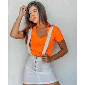 Blusa Blusinha Com Nó Podrinha De Amarrar Neon Fluorescente