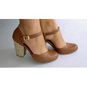 730ffd7e3c Marrom Scarpin Bico Redondo Gliter Cor Cobre Feminino - Sapatos no ...