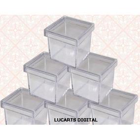 60 Caixinha De Acrílico 3x3 Transparente Personalizar