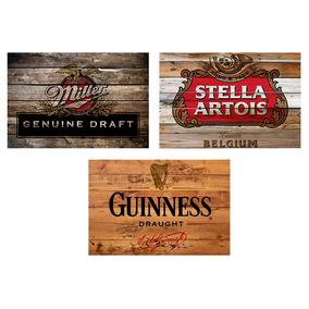 3 Quadros Madeira Rústico Cervejas Miller Stella E Guinness