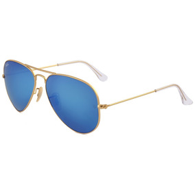 0861ae1e33335 Óculos Ray Ban 3025 112 17 Lente Azul Espelhado Armação Gold ...