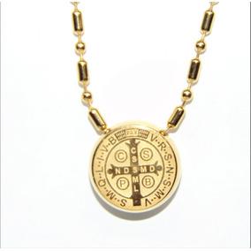 Collar Y Medalla San Benito Dorada Envío Gratis