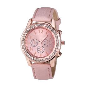 89545511b90 Relógio Feminino Couro Preto Geneva Casual Strass Fashion
