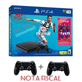 Ps4 Slim Hd 1tb +2 Controles + Jogo Fifa 19+ Nota Fiscal