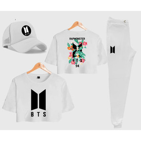 Kit Calça Moletom + Camisa Cropped Boné Bts Rap Monster 94 63f562e3c00