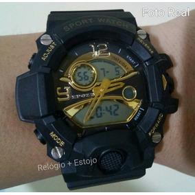 b70a2a5d1d7 Relógio Militar S Shock Led Digital Prova Dágua Ouro   Preto