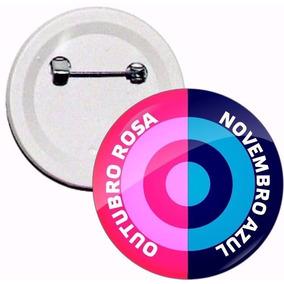 Boton Outubro Rosa E Novembro Azul 4,5 Cm - Kit 5 Botons