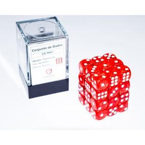Conjunto 36un Dados D6 Card Games - Vermelho E Branco