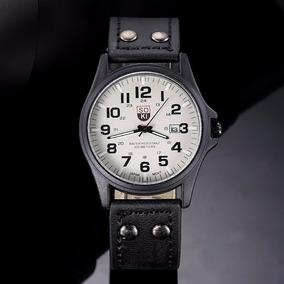 Relógio Masculino Pulseira Couro Militar Soki Frete Grátis