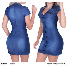 Vestido Camisa Feminino Pit Bull Jeans Lançamento 26882 1fefcade3f3
