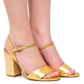 Sandália Zariff Shoes Salto Bloco Dourada   Zariff