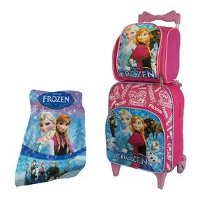 Mochila Bolsa Escolar Infantil Frozen Kit Cm Rodinhas Barato