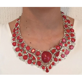 b1dd39228554 Envío Gratis Collar Modelo Sara Con Coral Rojo En Plata .925