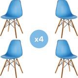 4 Sillas Eames En Plástico (pp) Y Patas En Madera Moderna