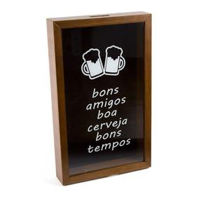 Quadro Porta Tampa De Cerveja De Madeira Bons Amigos Boa Cer