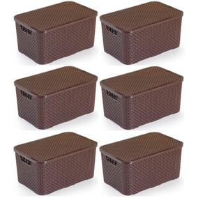 6 Caixas Organizadoras Plástico Rattan 15 Lts