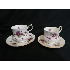 Conjunto Xícaras De Chá E Café Violets Da Queens England
