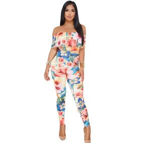 Sexy Body Jumpsuit Strapless Moderno Estampado Flores 64405