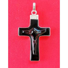 d12cb0282e2f Dije Cruz Cristo Obsidiana Negra Plata Artesanal Arte A Mano