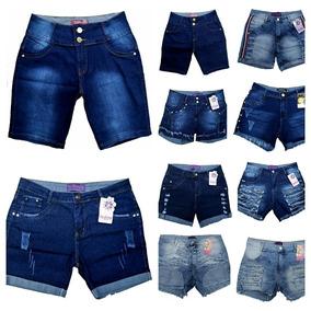 Roupas Femininas Kit De 03 Bermuda Jeans Plus Size 36 Ao 52